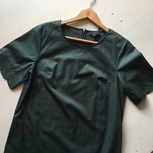 COS | Forest Green Scalloped Hem Shift Dress